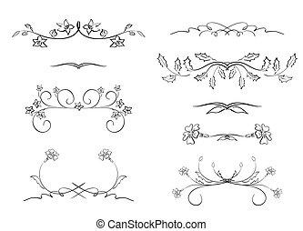 black floral dividers - vector set