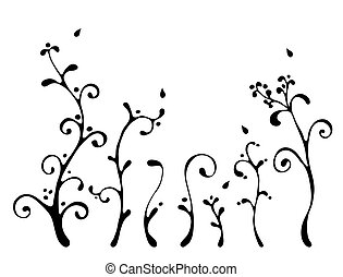 black floral elements