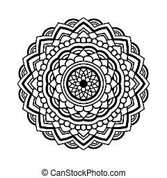 Simple floral mandala. Black floral mandala on white ...