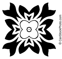 Black floral motif. Isolated