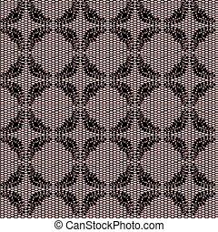 Black floral net lace on pink background.