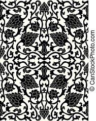 Black floral pattern.