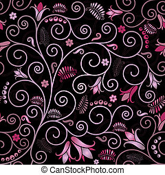 Black seamless floral pattern with pink flowers and curls (vector)