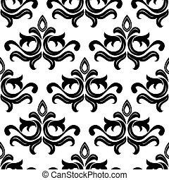 Black floral seamless pattern