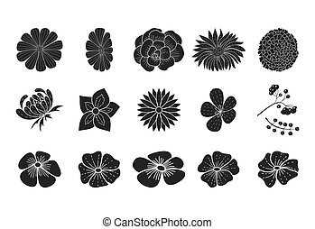 Black floral silhouette collection doodle style isolated on white.