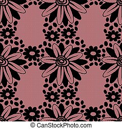Black flower lace on pink background.