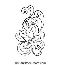Black flower sketch. Floral design element in retro style Vector illustration.