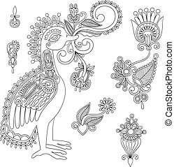 Black flowers and bird design element. Line art