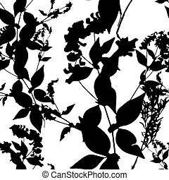 Black flowers on white background. Seamless pattern. Vector