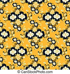 black flowers on yellow background seamless pattern
