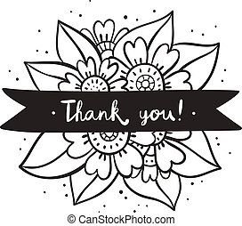 Black flowers, thank you on a ribbon, vector illustration
