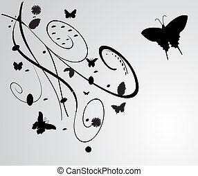 black flowers with butterfly decoration isolated on white