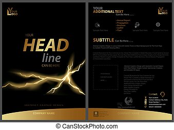 Black Flyer Template with Golden Strip and Fissure -...