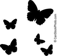 Black flying Butterflies