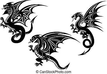 Black flying dragons tattoo design