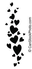 Black flying hearts. Element for your design. Vector illustration