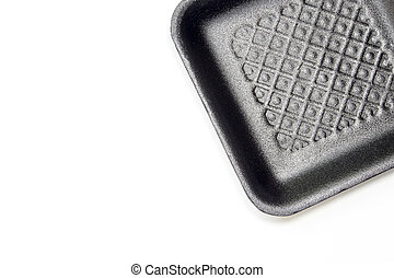 Black foam tray isolated in white background