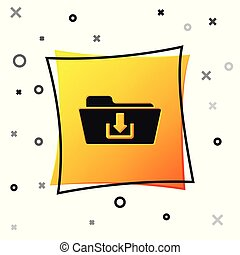 Black Folder download icon isolated on white background. Yellow square button. Vector Illustration