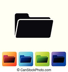 Black Folder icon isolated on white background. Set icon in color square buttons. Vector Illustration