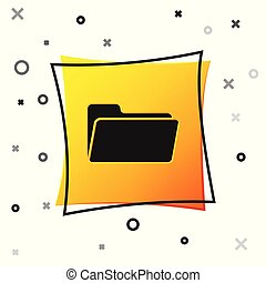 Black Folder icon isolated on white background. Yellow square button. Vector Illustration