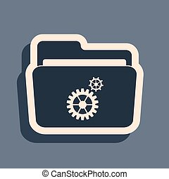 Black Folder settings with gears icon isolated on grey background. Concept of software update, transfer protocol, router, teamwork tool management, copy process. Long shadow style. Vector Illustration