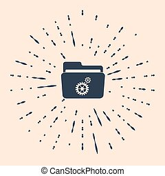 Black Folder settings with gears icon on beige background. Concept of software update, transfer protocol, teamwork tool management, copy process. Abstract circle random dots. Vector Illustration