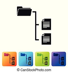 Black Folder tree icon isolated on white background. Computer network file folder organization structure flowchart. Set icon in color square buttons. Vector Illustration