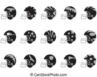 black football helmet set