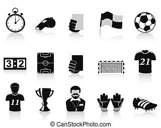 black football icons set
