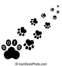 Black footprints of dog