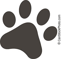 Black footprints of dogs foot silhouette vector illustration.