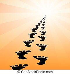 Black footprints - Illustration footprints in the orange...