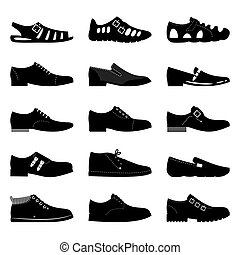 Black footwear icon set. Boots, sniekers signs, shoes icons silhouettes isolated on white background
