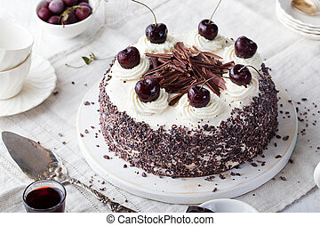 Black forest cake, Schwarzwald pie choco, cherry - Black...
