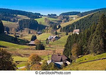 Black Forest Landscape - Farmland, farmhouses with chapel...