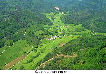 aerial view of farmhouses on Schoenberg in the Black Forest, Baden Germany