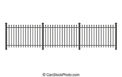 Black forged lattice fence. vector illustration isolated on ...