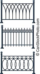 Black forged lattice fence. vector illustration isolated on...