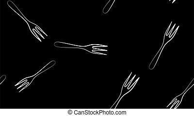 Black Fork icon isolated seamless pattern on white background. Vector Illustration