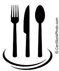 black fork knife and spoon silhouettes on white background
