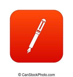 Black fountain pen icon digital red