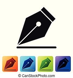 Black Fountain pen nib icon isolated on white background. Pen tool sign. Set icon in color square buttons. Vector Illustration