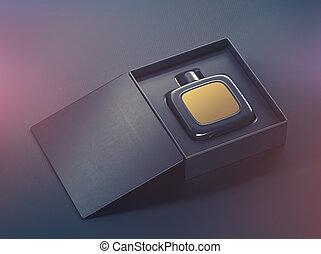 Black fragrance perfume bottle mockup - Black perfume bottle...