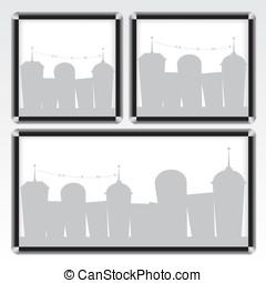 Black frame and city illustration
