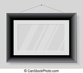 Black frame isolated on grey background.