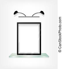 Black frame on glass shelf