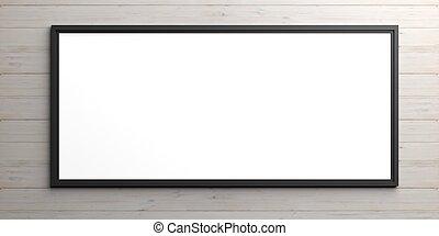 Black frame on wooden background. 3d illustration