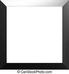 Black frame with a white background.
