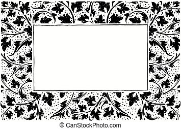 Black frame with collection of plants, grunge style with...