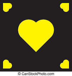 Black frame with yellow hearts background